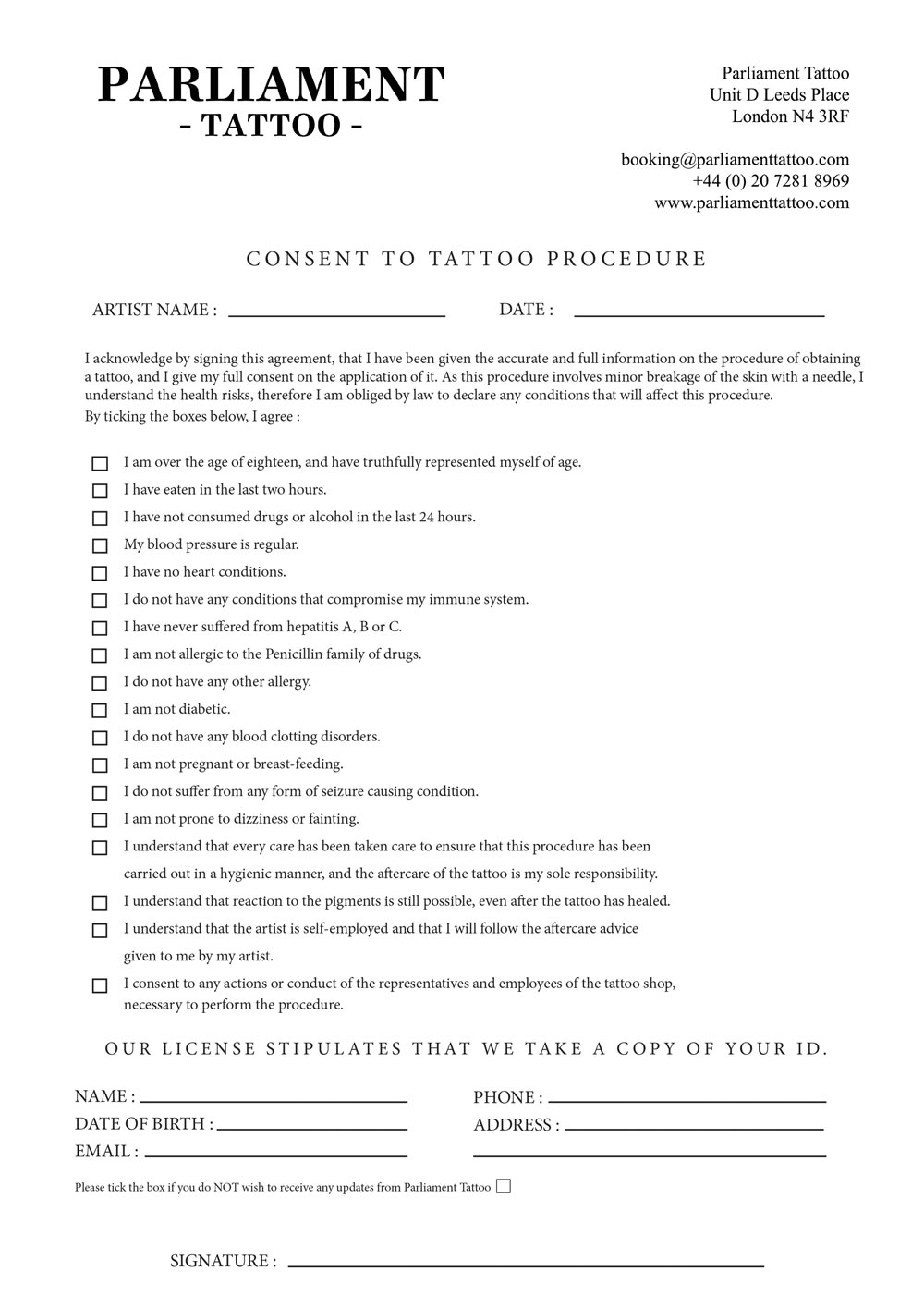 Consent Form Parliament Tattoo – Consent Form